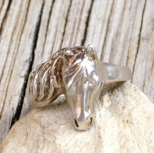 Vintage 70s Sterling Silver Horse Head Ring